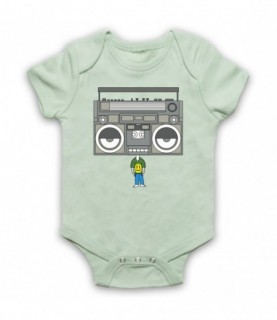 Boombox Head Music Lover Baby Grow Bib