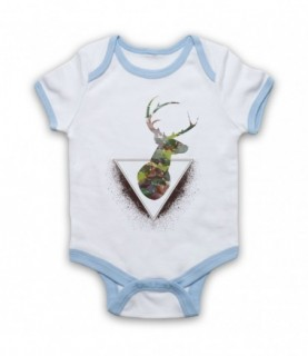 Deer Watercolour Painting Head Baby Grow Bib