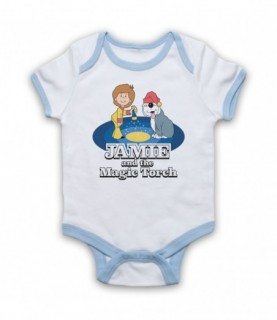 Jamie And The Magic Torch Retro Kids TV Show Baby Grow Bib