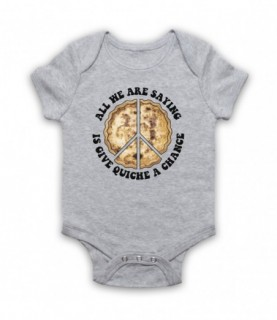 All We Are Saying Is Give Quiche A Chance Funny Peace Parody Baby Grow Bib