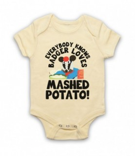 Bodger & Badger Badger Loves Mashed Potato Baby Grow Bib