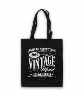 1969 Vintage Model Born In Birth Year Date Funny Slogan Tote Bag