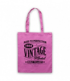 1980 Vintage Model Born In Birth Year Date Funny Slogan Tote Bag