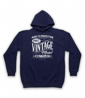 1987 Vintage Model Born In Birth Year Date Funny Slogan Hoodie Sweatshirt Hoodies & Sweatshirts