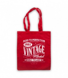 1981 Vintage Model Born In Birth Year Date Funny Slogan Tote Bag