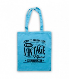 1984 Vintage Model Born In Birth Year Date Funny Slogan Tote Bag