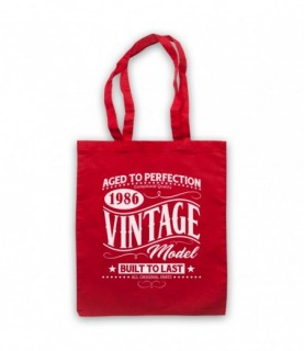 1986 Vintage Model Born In Birth Year Date Funny Slogan Tote Bag
