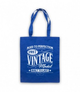 1987 Vintage Model Born In Birth Year Date Funny Slogan Tote Bag
