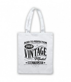 1989 Vintage Model Born In Birth Year Date Funny Slogan Tote Bag