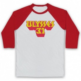 Ulysses 31 Logo Adults White & Red Baseball Tee