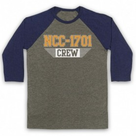 Star Trek Enterprise Crew NCC 1701 Adults Grey & Navy Blue Baseball Tee