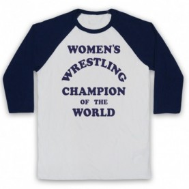 Women's Wrestling Champion Of The World As Worn By Andy Kaufman Adults White & Navy Blue Baseball Tee