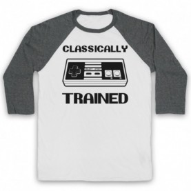 Classically Trained NES Console Controller Adults White & Grey Baseball Tee