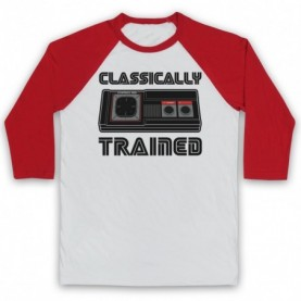 Classically Trained Master System Console Controller Adults White & Red Baseball Tee