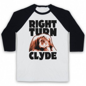 Every Which Way But Loose Right Turn Clyde Adults White & Black Baseball Tee