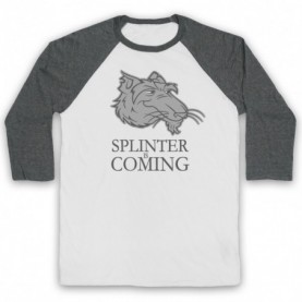 Splinter Is Coming Teenage Mutant Ninja Turtles TMNT Parody Adults White & Grey Baseball Tee