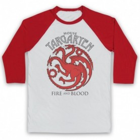 Game Of Thrones House Targaryen Adults White & Red Baseball Tee