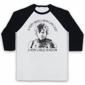 Game Of Thrones Tyrion Lannister Small Man Can Cast Large Shadow Adults White & Black Baseball Tee