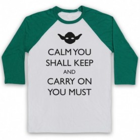 Star Wars Yoda Calm You Shall Keep Carry On You Must Adults White & Green Baseball Tee