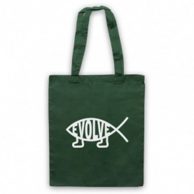 Evolve Evolution Atheist Symbol Fish With Legs Ithchys Dark Green Tote Bag