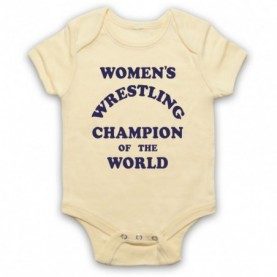 Women's Wrestling Champion Of The World As Worn By Andy Kaufman Light Yellow Baby Grow