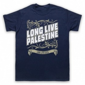 Long Live Palestine Long Live Gaza Mens Navy Blue T-Shirt