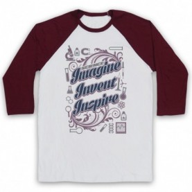 Science Imagine Invent Inspire Adults White & Maroon Baseball Tee