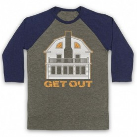Amityville Horror Get Out Haunted House Adults Grey & Navy Blue Baseball Tee