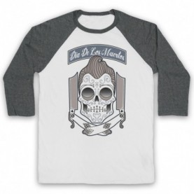 Dia De Los Muertos Mexican Day Of The Dead Adults White & Grey Baseball Tee