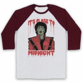 Michael Jackson Thriller  Adults White & Maroon Baseball Tee