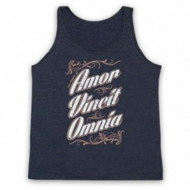 Amor Vincit Omnia Love Conquers All Adults Heather Navy Blue Tank Top