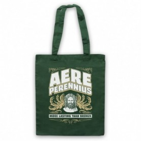 Aere Perennius More Lasting Than Bronze Dark Green Tote Bag