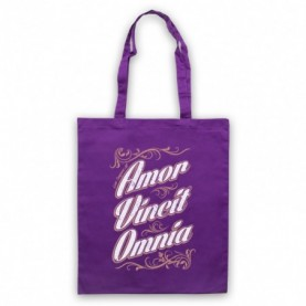 Amor Vincit Omnia Love Conquers All Purple Tote Bag