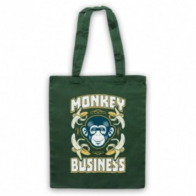 Monkey Business Funny Slogan Dark Green Tote Bag