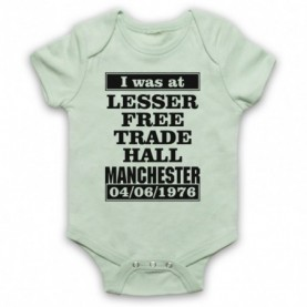 I Was At Lesser Free Trade Hall Manchester Gig Light Green Baby Grow