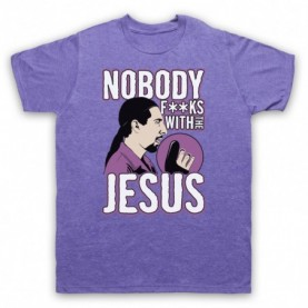 Big Lebowski Nobody Fucks With The Jesus Mens Heather Purple T-Shirt