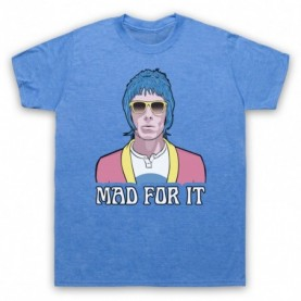 Oasis Liam Gallagher Mad For It Mens Heather Blue T-Shirt
