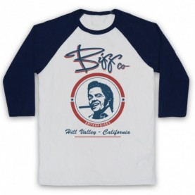 Back To The Future Biff Co Adults White & Navy Blue Baseball Tee