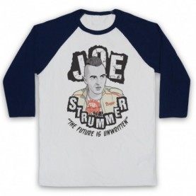 Clash Joe Strummer The Future Is Unwritten Adults White & Navy Blue Baseball Tee