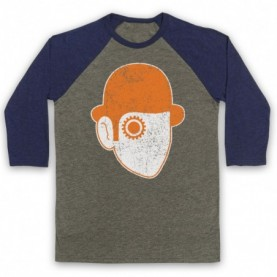 A Clockwork Orange Droog Face Adults Grey & Navy Blue Baseball Tee
