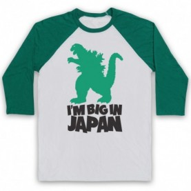 Godzilla Big In Japan Funny Parody Slogan Adults White & Green Baseball Tee