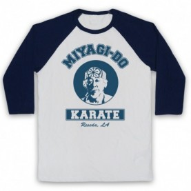 Karate Kid Mr Miyagi Adults White & Navy Blue Baseball Tee