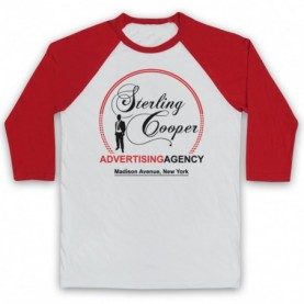 Mad Men Sterling Cooper Adults White & Red Baseball Tee