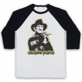 A Nightmare On Elm Street Come To Freddy Adults White & Black Baseball Tee