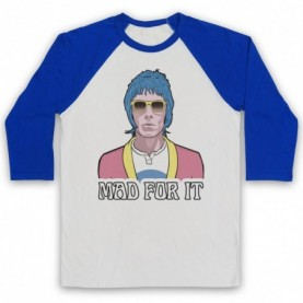 Oasis Liam Gallagher Mad For It Adults White & Royal Blue Baseball Tee