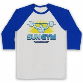 Pain & Gain Sun Gym Adults White & Royal Blue Baseball Tee