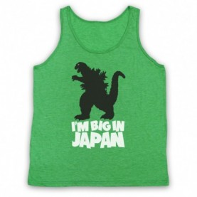 Godzilla Big In Japan Funny Parody Slogan Adults Heather Green Tank Top