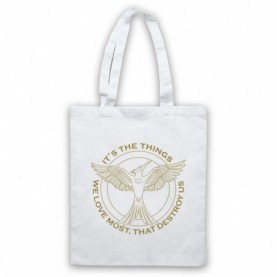Hunger Games Mockingjay It's The Things We Love Most Destroy Us White Tote Bag