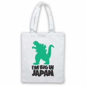 Godzilla Big In Japan Funny Parody Slogan White Tote Bag