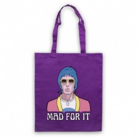 Oasis Liam Gallagher Mad For It Purple Tote Bag